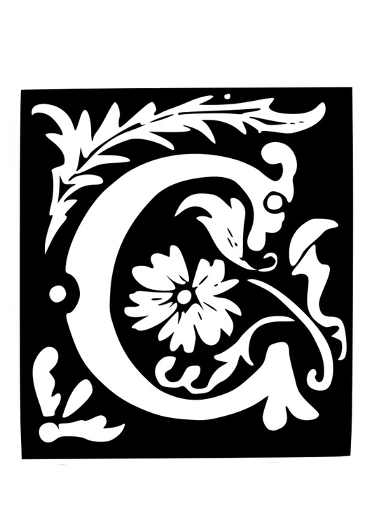 Coloring page ornamental letter - c