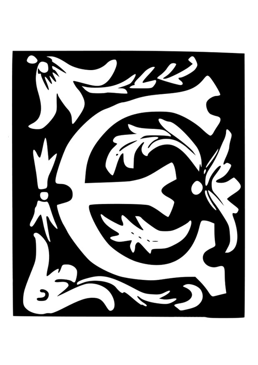 Coloring page ornamental letter - e