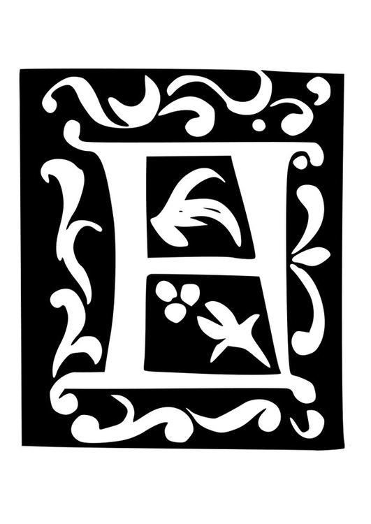 Coloring page ornamental letter - f