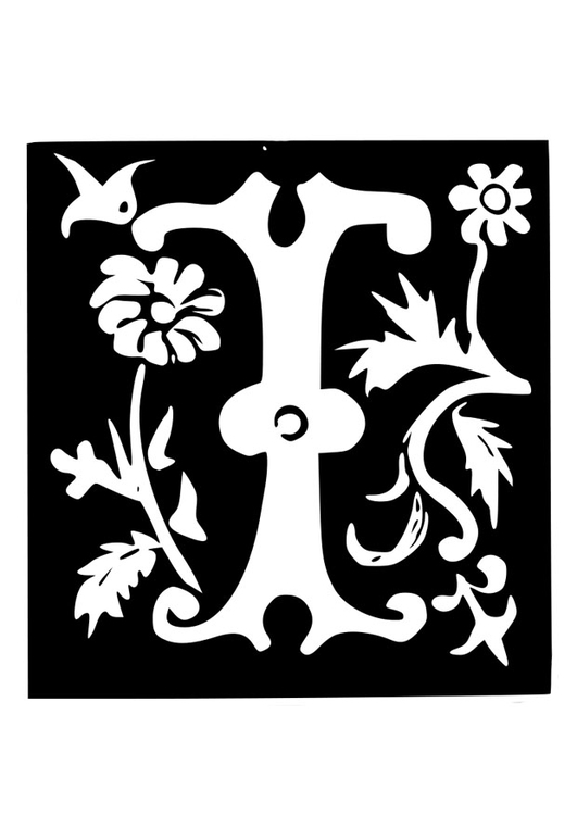 Coloring page ornamental letter - i