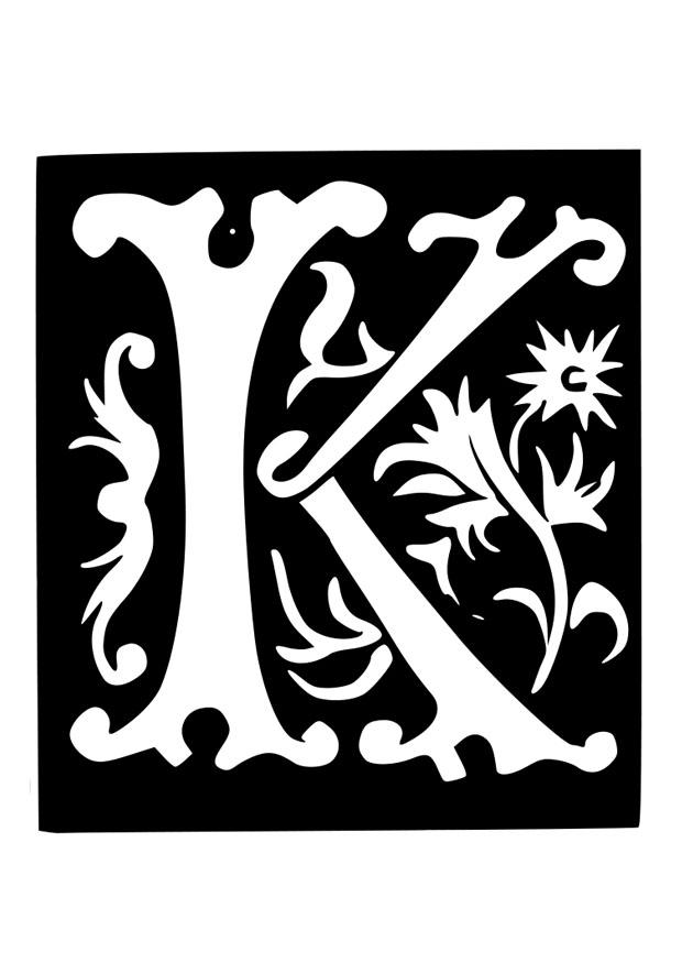 coloring page ornamental letter - k