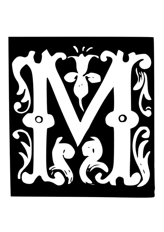 Coloring page ornamental letter - m