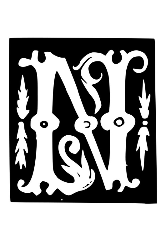 Coloring page ornamental letter - n