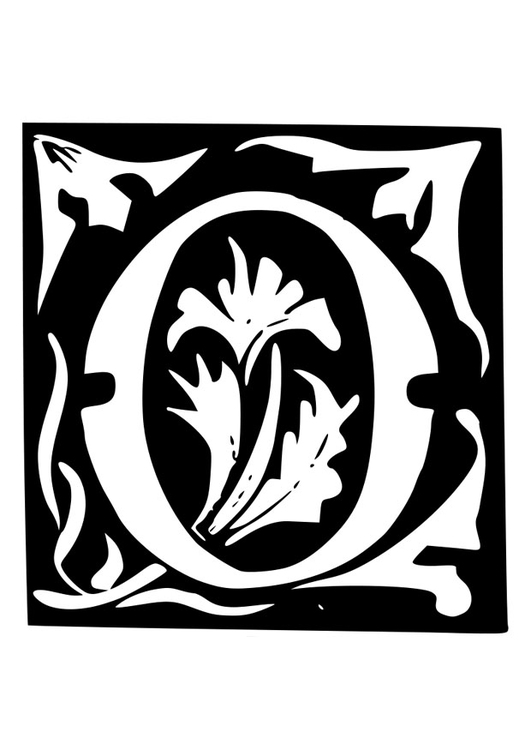 Coloring page ornamental letter - o