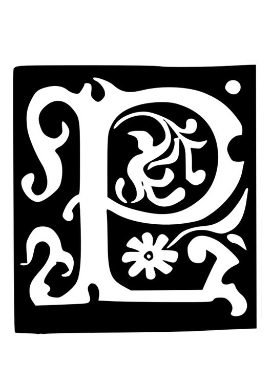 Coloring page ornamental letter - p