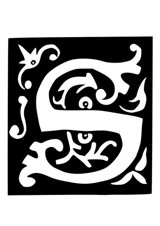Coloring page ornamental letter - s