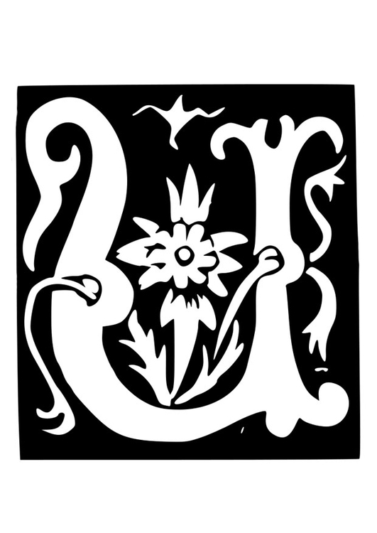 Coloring page ornamental letter - u