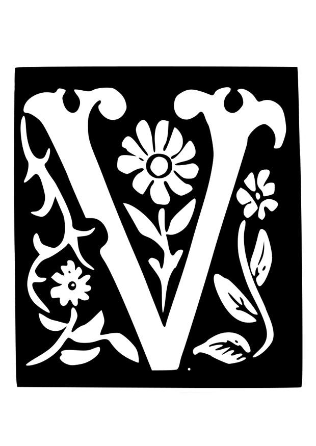 Coloring Page Ornamental Letter V Free Printable