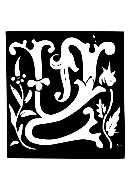 Coloring page ornamental letter - w