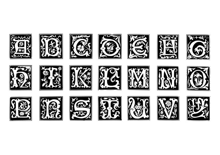Coloring page ornamental letters
