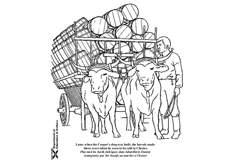 Coloring page oxen with cart