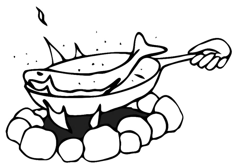 Coloring page pan-fried fish
