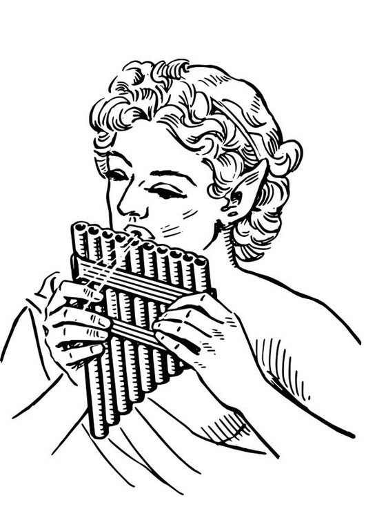 Coloring page Pan - Pan Pipe