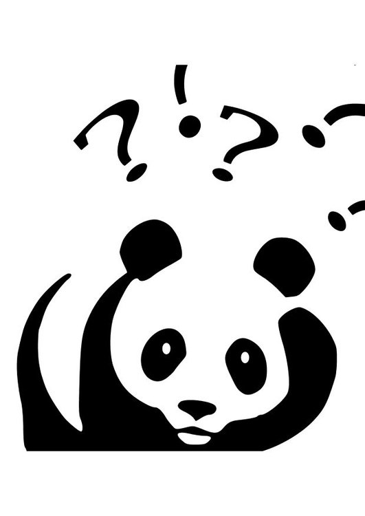 Coloring page panda asking questions