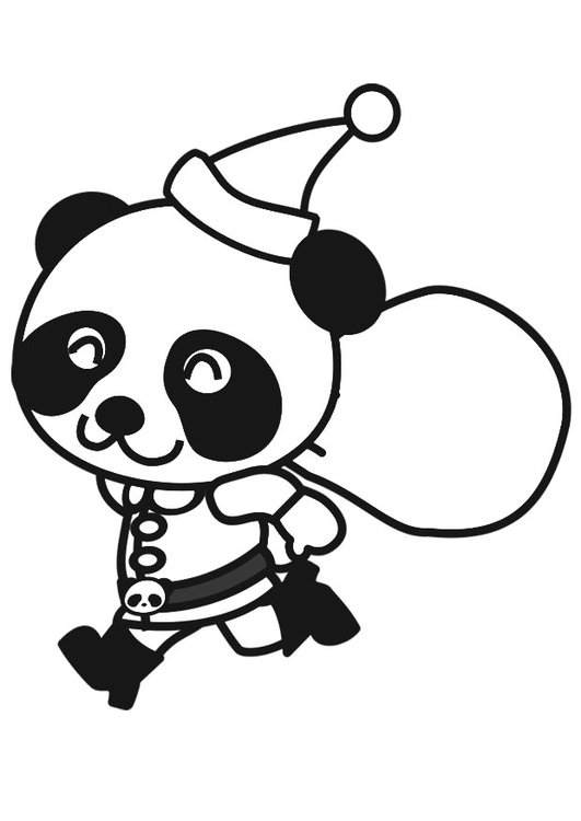 Coloring page panda in christmas costume
