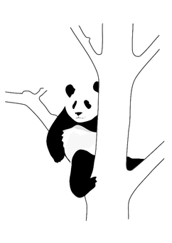 Coloring page panda in tree