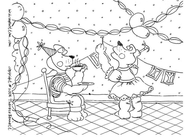 Coloring page party