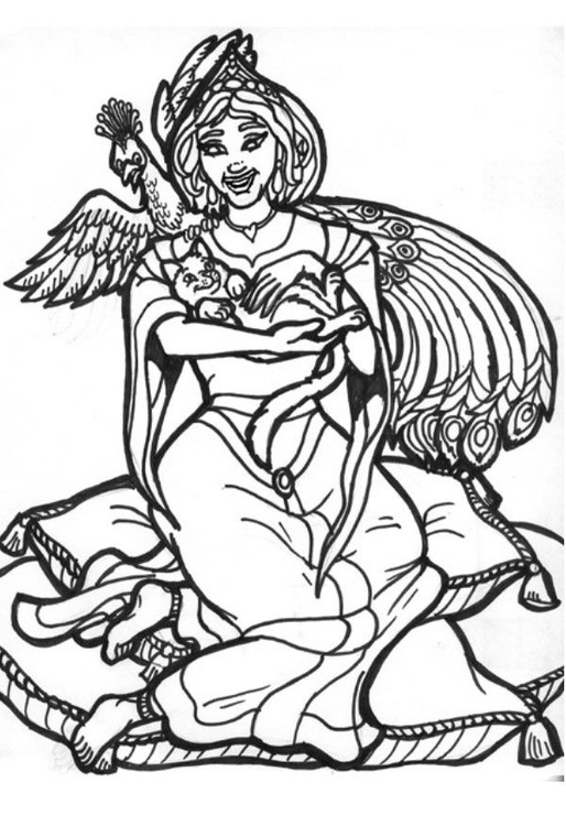 Coloring page peacock queen