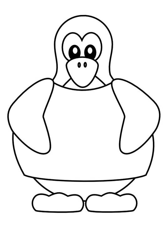 Coloring page penguin in t-shirt