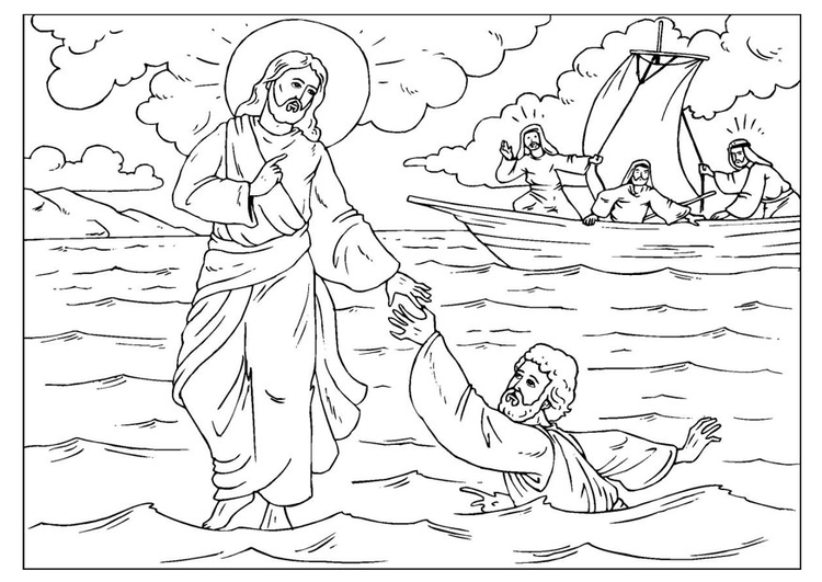 Coloring page Peter loses faith