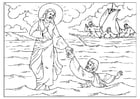 Coloring pages Peter loses faith