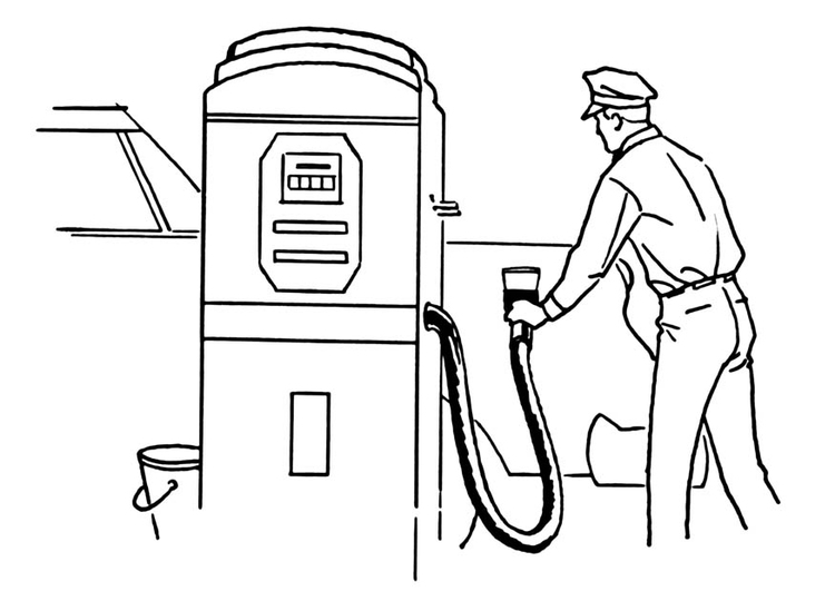 Coloring page petrol station