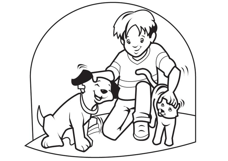 Coloring page pets cat and dog