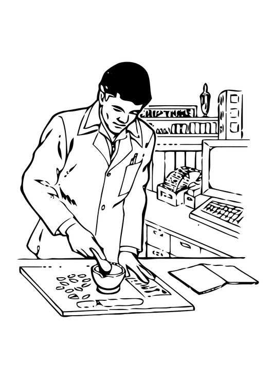 Coloring page pharmacist