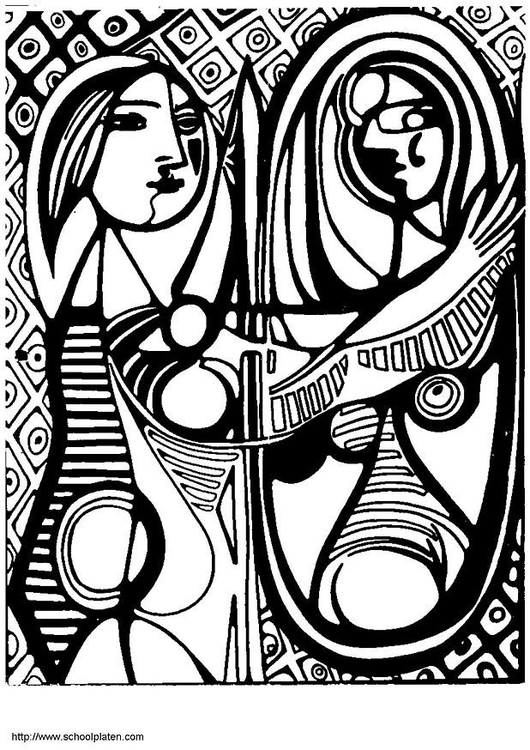 Coloring page Picasso Girl in front of Mirror