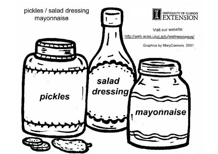Coloring page pickles, salad dressing and mayonnaise