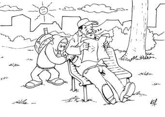 Coloring page pickpocket in the park