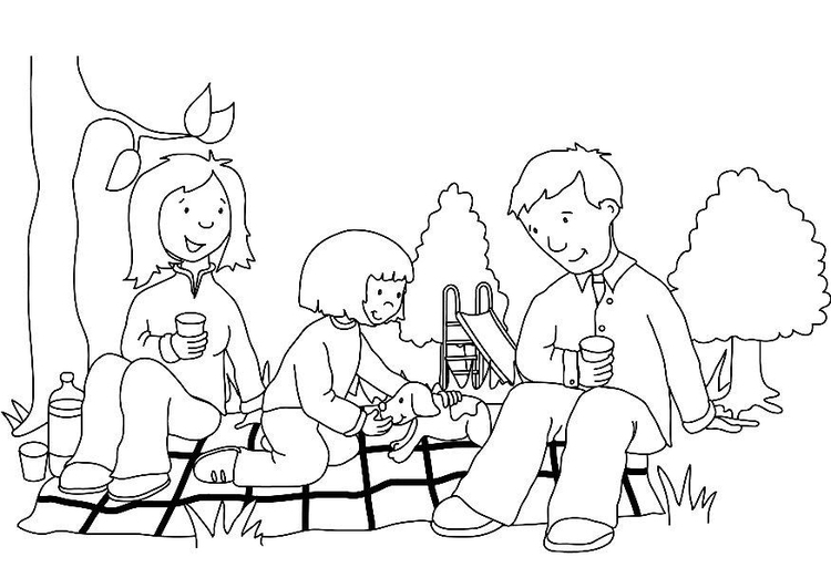 Coloring page picnic