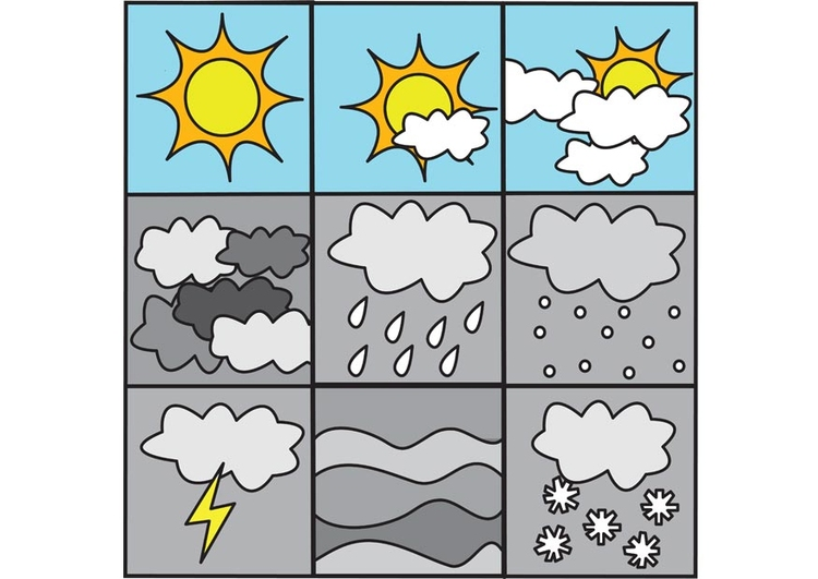 Coloring page pictograms weather 1