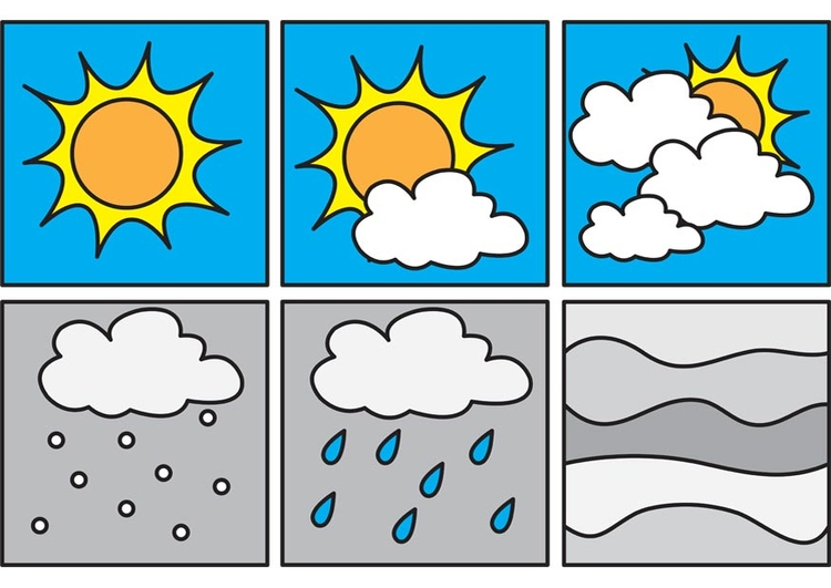 Coloring page pictograms weather 2