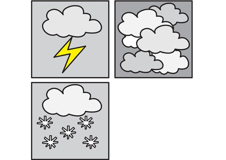 Coloring page pictograms weather 3