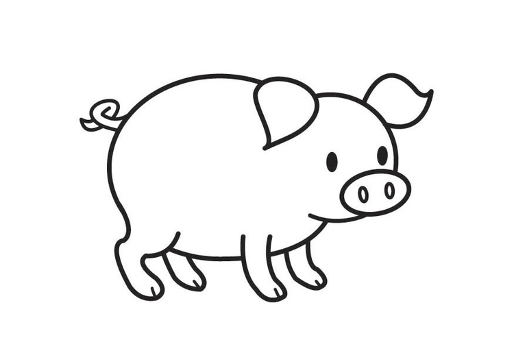 Coloring page Pig - img 17789.