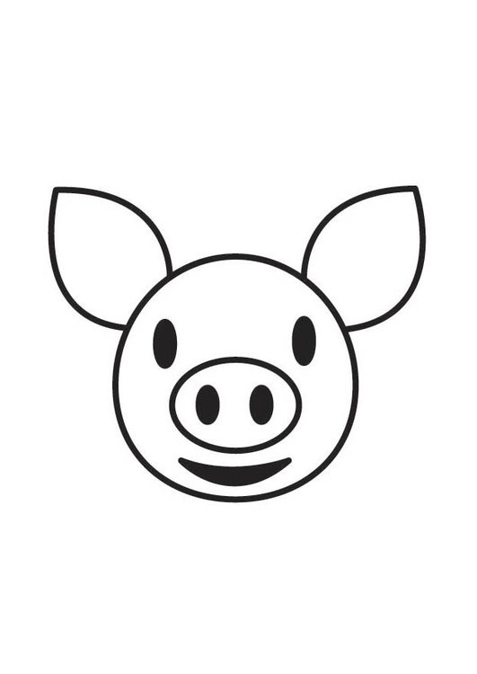 Coloring page Pig Head
