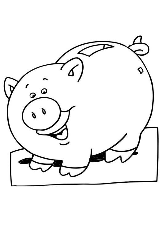 Coloring page piggy bank