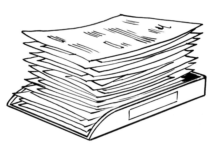 Coloring page pile of documents