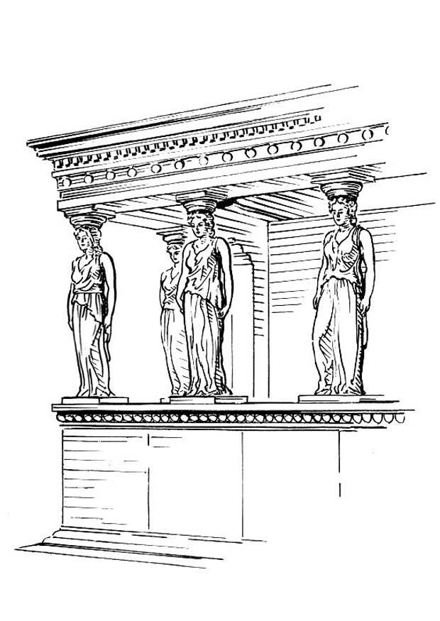 Coloring Page Pillar Caryatid Free Printable Coloring