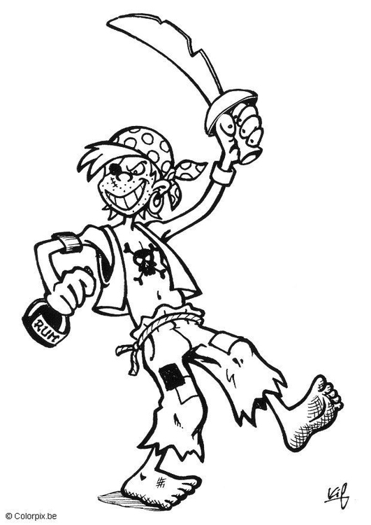 Coloring page pirate costume