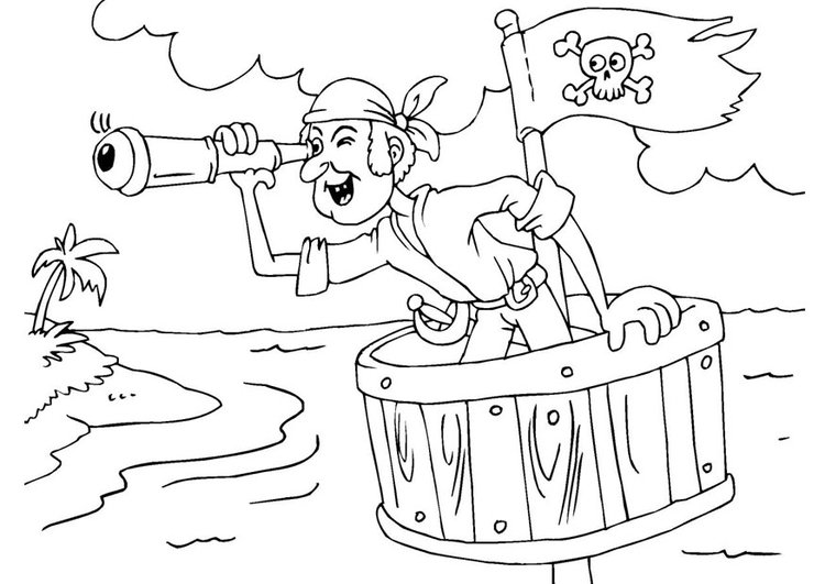 Coloring page pirate in crow's nest