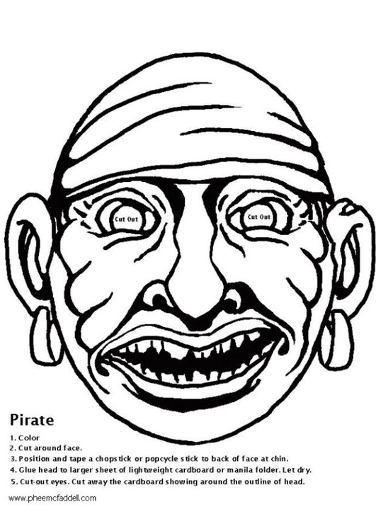 Coloring page pirate mask