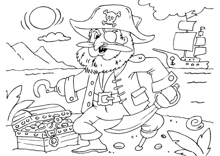 Coloring page pirate with treasure chest