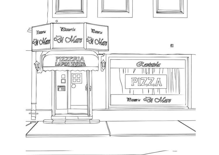 Coloring page pizzeria