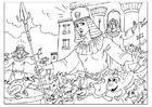Coloring pages plague of frogs