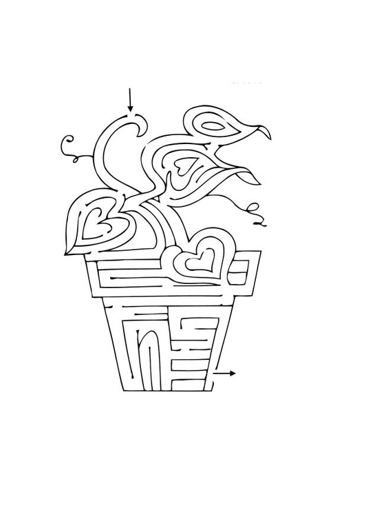 Coloring page plant maze