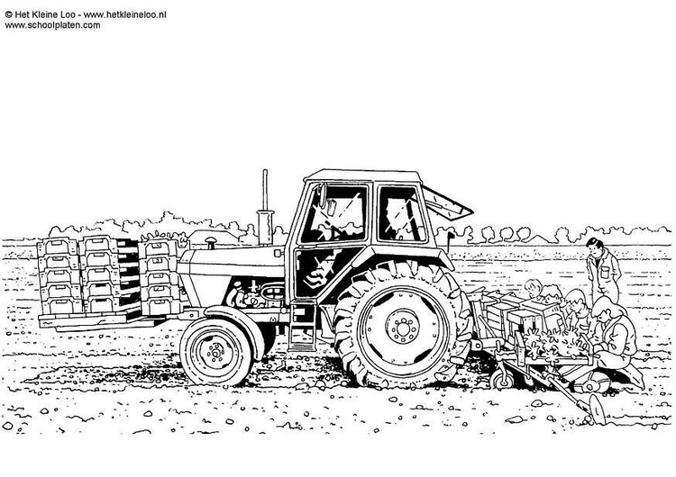 Coloring page planting crops