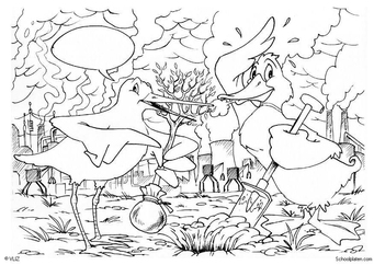 Coloring page planting trees