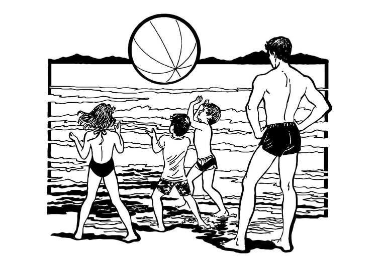 Coloring page play at the beach